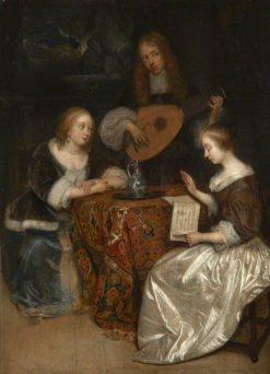 A Musical Conversation | Caspar Netscher | Oil Painting