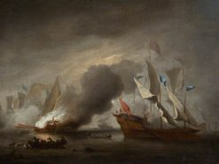 A Row Galley on Fire | Willem van de Velde the Younger | Oil Painting