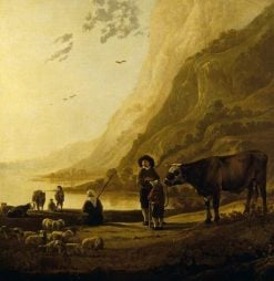 A Mountainous River Landscape with a Herdsman and a Bull | Aelbert Cuyp | Oil Painting