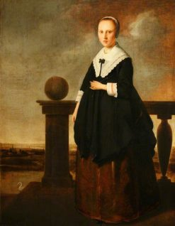 Portrait of an Unknown Woman Standing on a Balustraded Terrace | Isaack Luttichuys | Oil Painting