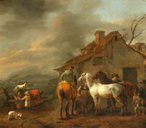 A Group of Figures and Horses with a Cottage in the Background | Johannes Lingelbach | Oil Painting