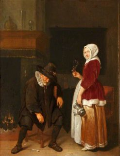 An Old Man Sleeping by a Fireside Attended by a Maidservant | Quiringh van Brekelenkam | Oil Painting