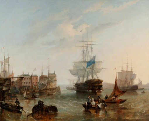 HMS 'Asia' Leaving Portsmouth Harbour | William Adolphus Knell | Oil Painting