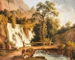 Landscape with a Waterfall and a Cowherd in the Foreground | Jakob Philipp Hackert | Oil Painting