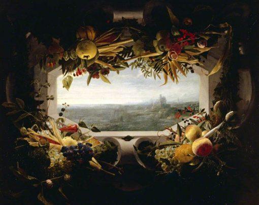 A Seascape within a Garland of Fruit | Johannes van der Baren | Oil Painting