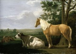A Horse and Cows in a Landscape | Abraham van Calraet | Oil Painting