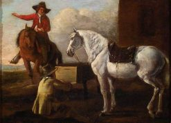 Young Artist Painting a Horse and Rider | Abraham van Calraet | Oil Painting