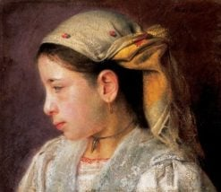 Young Girl with a Scarf | Adolf FEnyes | Oil Painting