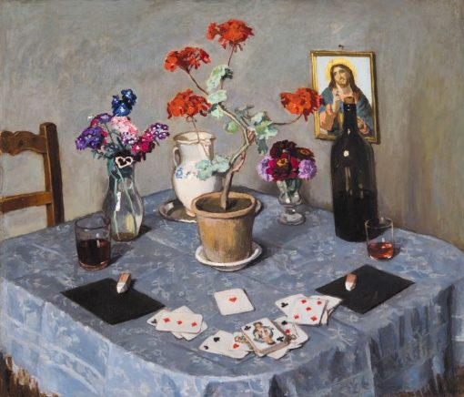 Still Life with Cards   Adolf FEnyes   Oil Painting