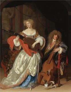A Lady Playing the Lute and a Gentleman with a Viola da Gamba | Adriaen van der Werff | Oil Painting
