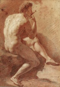 Study of a Male Nude Playing the Flute | Adriaen van der Werff | Oil Painting