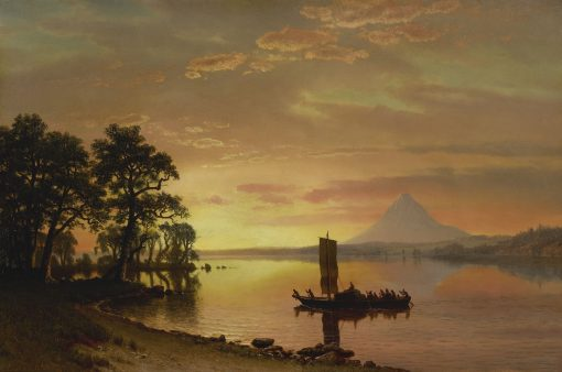 Indians Crossing the Columbia River(also known as Indians on the Columbia River with Mount Hood in the Distance) | Albert Bierstadt | Oil Painting