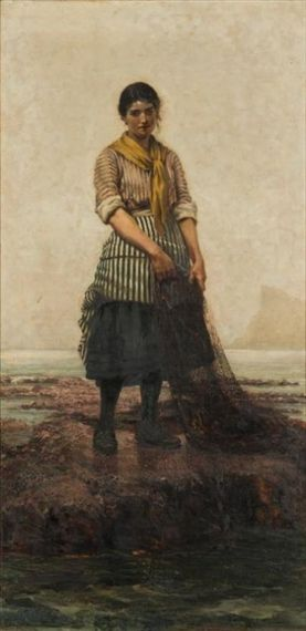 Breton Fishergirl | Albert Chevallier Tayler | Oil Painting