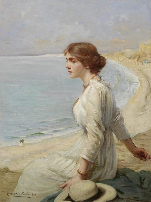 Girl looking Out to Sea | Albert Chevallier Tayler | Oil Painting