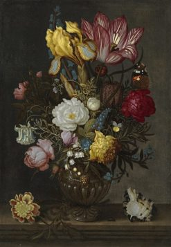 Still life with a bouquet of flowers in a glass vase | Ambrosius Bosschaert I | Oil Painting