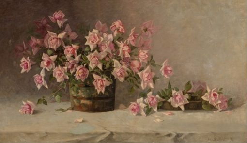 Still LIfe with Pink Roses   AmEdEe Joullin   Oil Painting