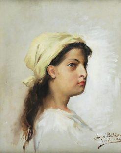 Ukrainian Girl in a Scarf | Anna Bilinska Bohdanowicz | Oil Painting