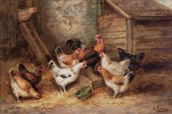 Chickens in a Farmyard | August Laux | Oil Painting