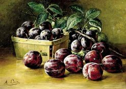 Plums In A Basket | August Laux | Oil Painting