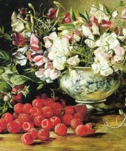 Raspberries and Sweet Pea | August Laux | Oil Painting