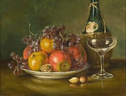 Still life with Chianti Bottle And Wine Glass | August Laux | Oil Painting