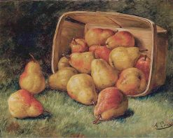 Pears Spilling from a Basket | August Laux | Oil Painting
