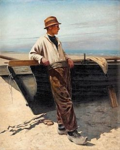 Fisherman by the Sea | August Wilhelm Nikolaus Hagborg | Oil Painting