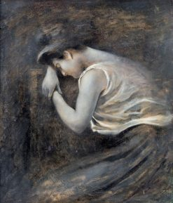 Jeune fille songeuse | August Wilhelm Nikolaus Hagborg | Oil Painting