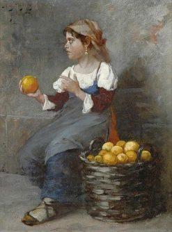 Girl Selling Oranges(also known as Flicka sa?ljande apelsiner) | August Wilhelm Nikolaus Hagborg | Oil Painting