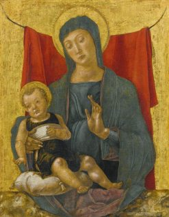 Madonna and Child Before a Red Curtain   Bartolomeo Vivarini   Oil Painting
