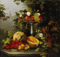 Still-Life with Fruit and Flowers | Bertha Wegmann | Oil Painting