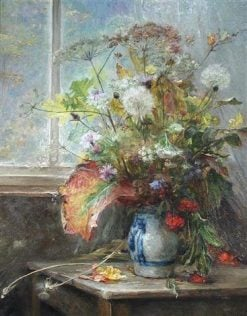 Still-Life with Country Flowers in a Blue and White Vase | Bertha Wegmann | Oil Painting