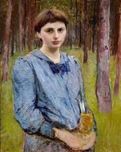 Young Woman in a Blue Dress | Bertha Wegmann | Oil Painting