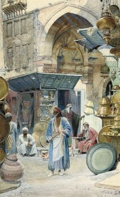 A Busy Morning in the Bazaar | Carl Haag | Oil Painting