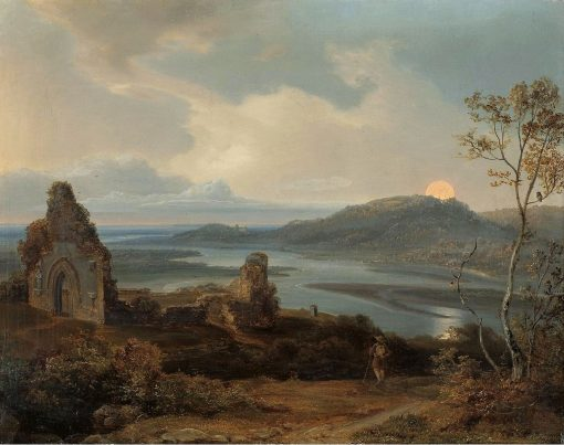 Ruin of a Chapel near a River with Rising Moon   Carl Rottmann   Oil Painting