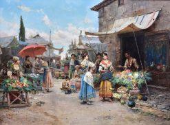 Market Scene | Cesare Augusto Detti | Oil Painting