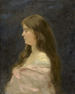 Portrait of a Girl in a White Dress with Pink Shawl | Charles Auguste Emile Durand | Oil Painting