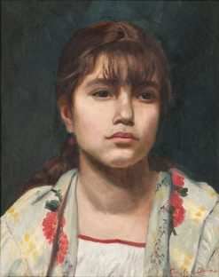 Portrait of a Girl in a Floral Shawl | Charles Auguste Emile Durand | Oil Painting