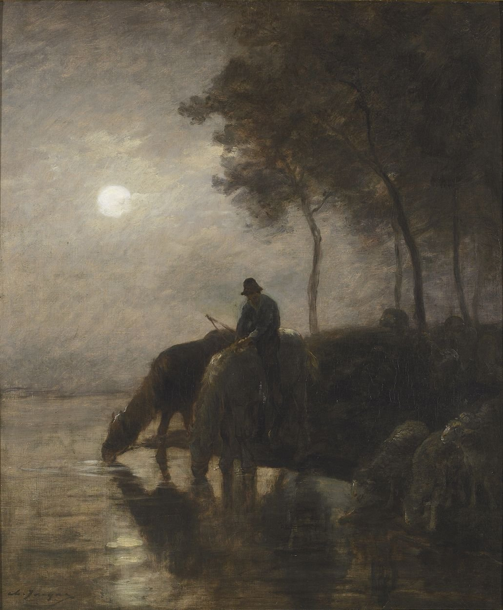 Chevaux et moutons s'abreuvant au clair de lune (Horses and Sheep Watering in the Moonlight) | Charles Emile Jacque | Oil Painting