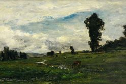 Figures and Cows in a Country Landscape | Charles Francois Daubigny | Oil Painting