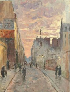 A Bustling Street at Dusk | Charles Francois Pecrus | Oil Painting