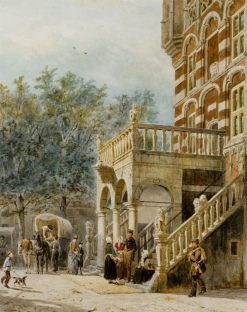 Figures at the Bank in Deventer | Cornelis Springer | Oil Painting