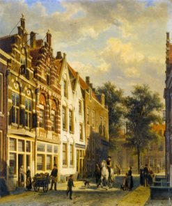 Figures on a Sunlit Street in a Dutch Town | Cornelis Springer | Oil Painting