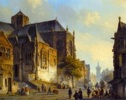 Figures on a Market Square in a Dutch Town | Cornelis Springer | Oil Painting