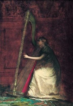 Lady Playing the Harp | Eastman Johnson | Oil Painting