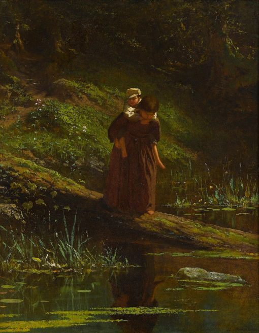 Crossing a Stream(also known as Pig-a-Back) | Eastman Johnson | Oil Painting