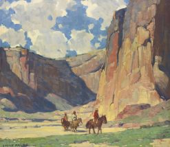 Indians Riding through the Canyon de Chelly | Edgar Alwyn Payne | Oil Painting