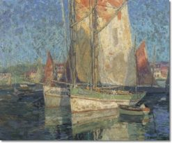 Fishing Boats in a Harbor | Edgar Alwyn Payne | Oil Painting
