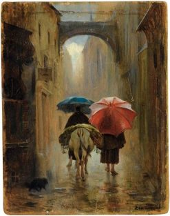 Pilgrims in the Rain | Eduardo Zamacois y Zabala | Oil Painting