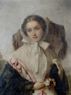 Portrait of Young Lady with a Parasol and Flowers | Edward Hughes | Oil Painting